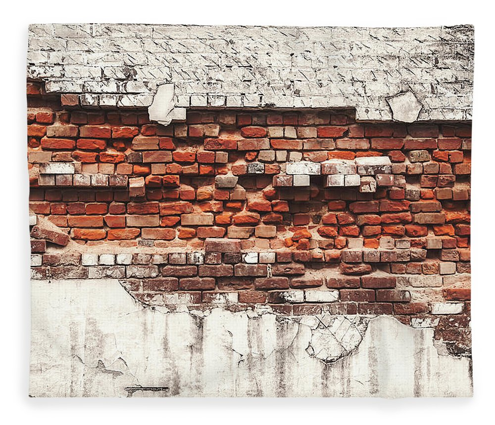 Tranquility Fleece Blanket featuring the photograph Brick Wall Falling Apart by Ty Alexander Photography