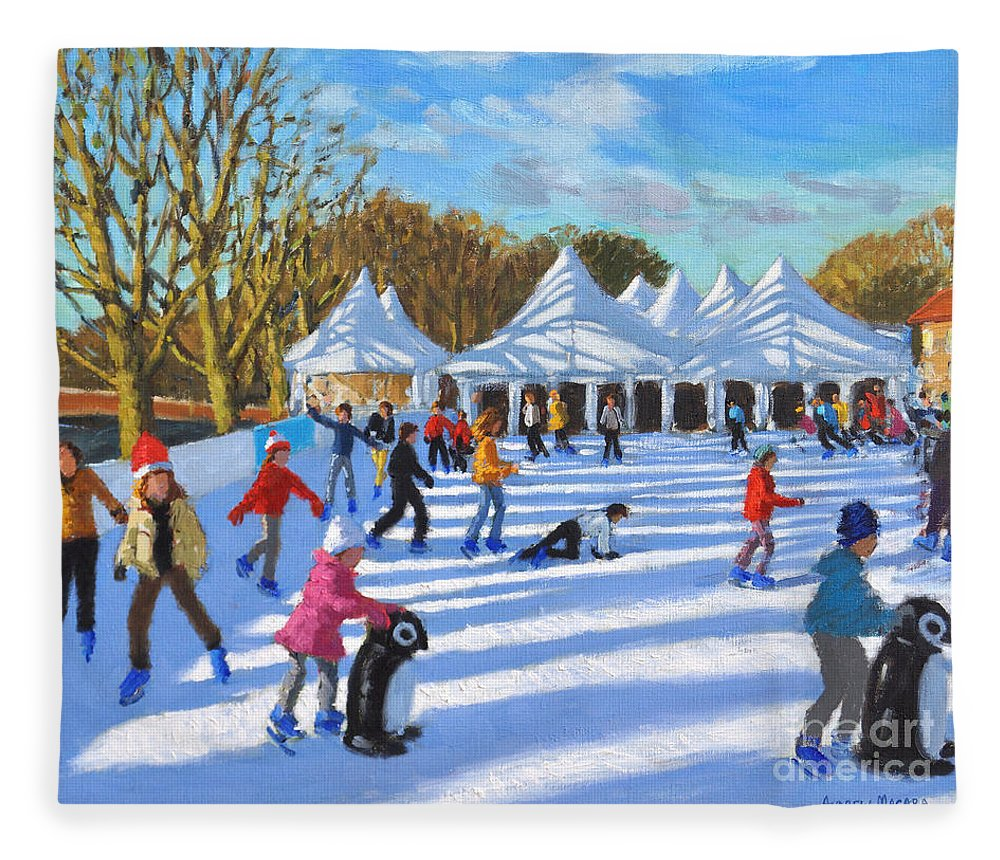 Bright Morning Fleece Blanket featuring the painting Bright Morning, Hampton Court Palace Ice Rink, London by Andrew Macara