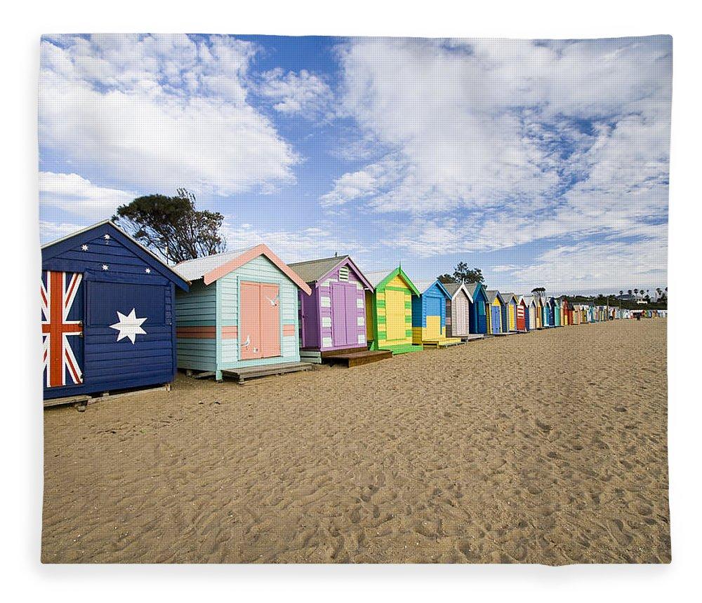 Steps Fleece Blanket featuring the photograph Brighton Beach Huts by Samvaltenbergs