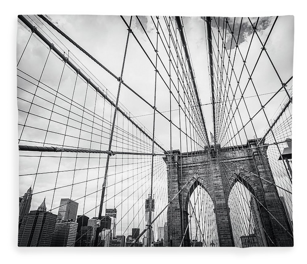 Downtown District Fleece Blanket featuring the photograph Brooklyn Bridge And New York Skyline by Cirano83
