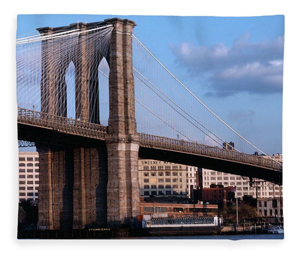 Built Structure Fleece Blanket featuring the photograph Brooklyn Bridge by Dick Luria