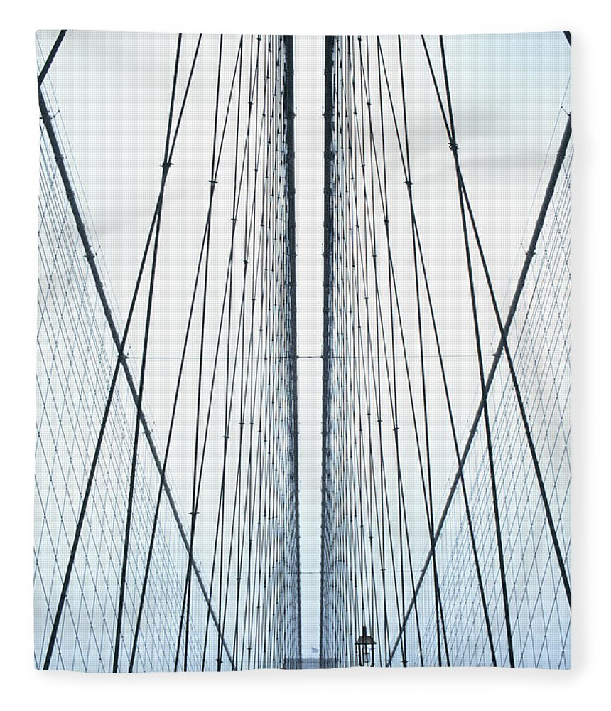 Suspension Bridge Fleece Blanket featuring the photograph Brooklyn Bridge by Eric O'connell
