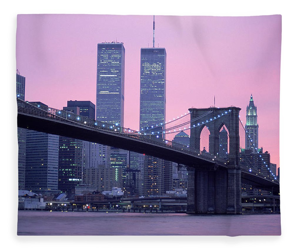 Dawn Fleece Blanket featuring the photograph Brooklyn Bridge, Twin Towers, Nyc, Ny by Barry Winiker