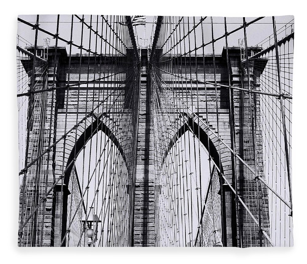 Built Structure Fleece Blanket featuring the photograph Brooklyn Bridge by Win-initiative