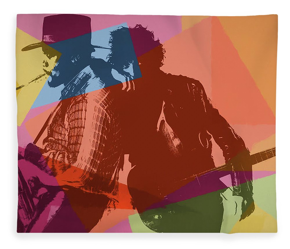 Pop Art Fleece Blanket featuring the painting Bruce And The Big Man Pop Art by Dan Sproul