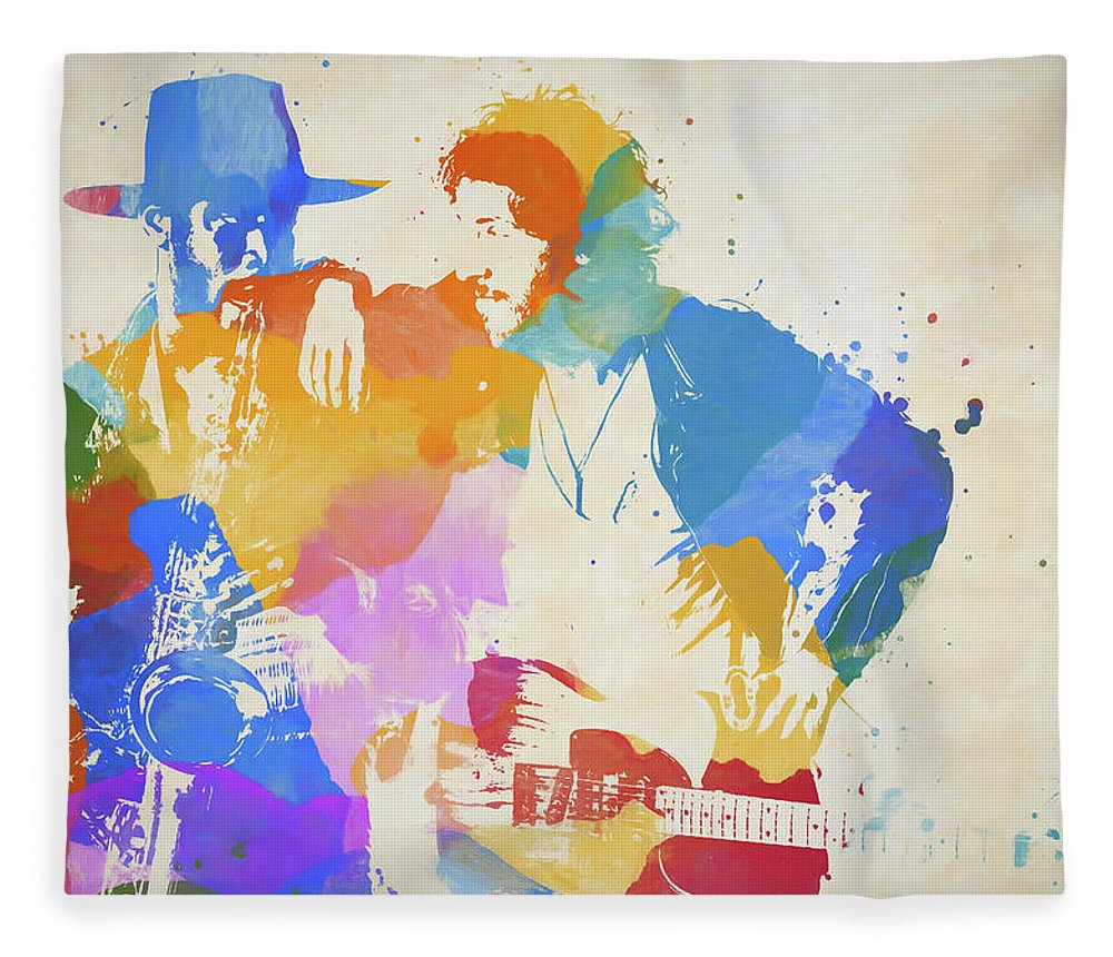 Bruce And The Big Man Fleece Blanket featuring the painting Bruce And The Big Man Watercolor Splatter by Dan Sproul