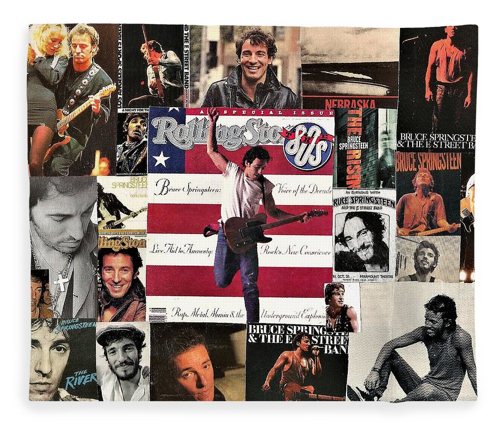 Collage Fleece Blanket featuring the digital art Bruce Springsteen Collage 1 by Doug Siegel