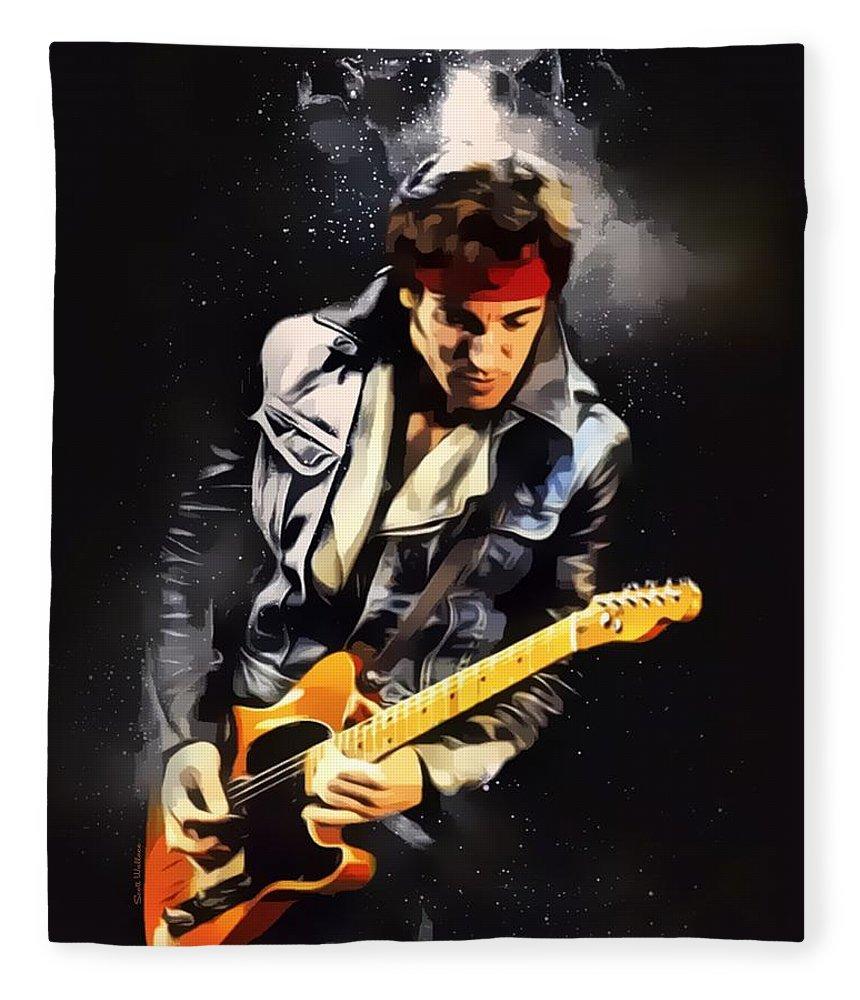 Bruce Springsteen Fleece Blanket featuring the digital art Bruce Springsteen Portrait by Scott Wallace Digital Designs
