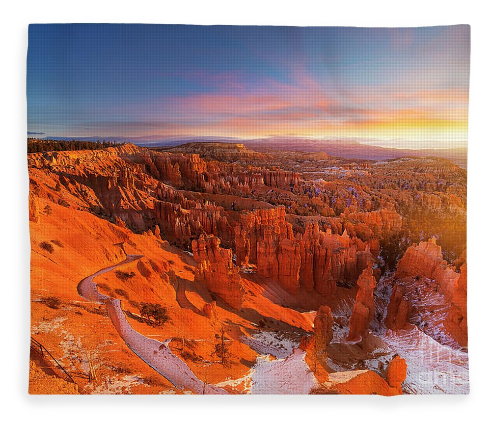 Scenics Fleece Blanket featuring the photograph Bryce Canyon National Park At Sunset by Ankit Saxena