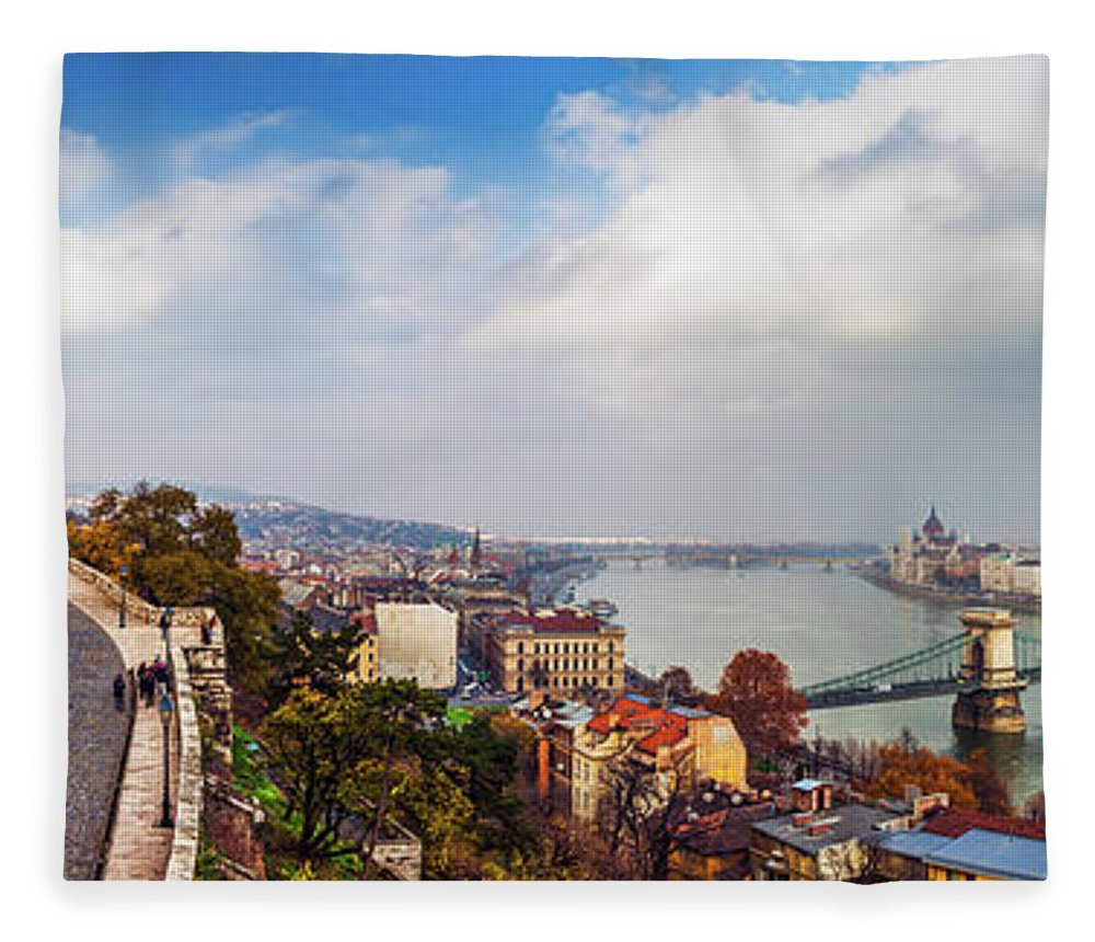 Hungarian Parliament Building Fleece Blanket featuring the photograph Budapest - Sweeping View by John And Tina Reid