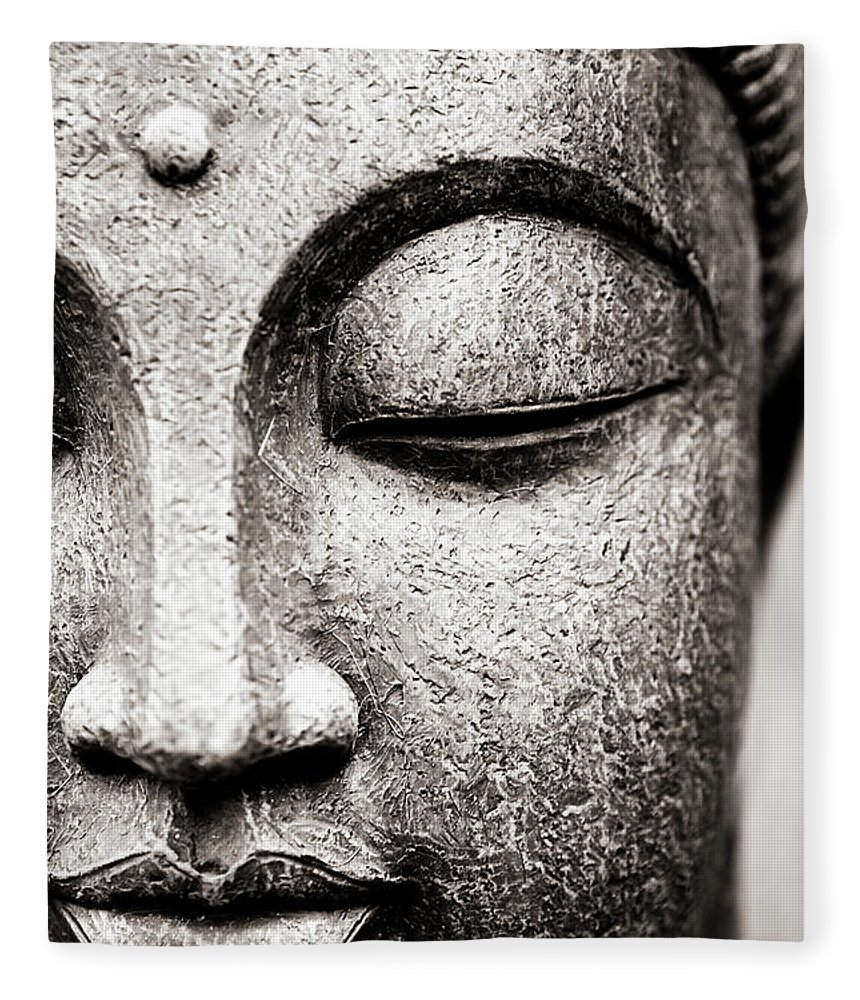 Statue Fleece Blanket featuring the photograph Buddha Face by Maodesign