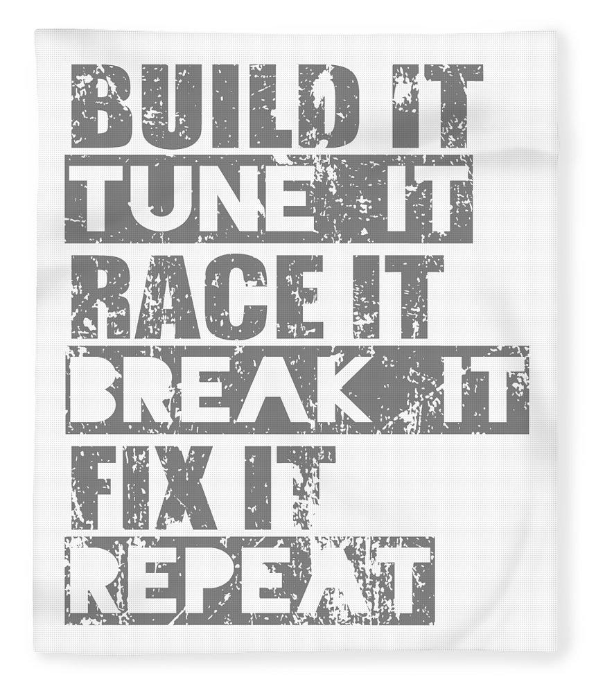 Dirtbike Fleece Blanket featuring the digital art Build It Tune It Race It Break It Fix It Repeat by Passion Loft