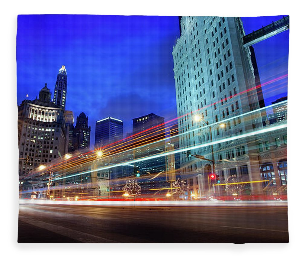 Chicago River Fleece Blanket featuring the photograph Bus Trails At Blue Hour by Chris Smith Www.outofchicago.com