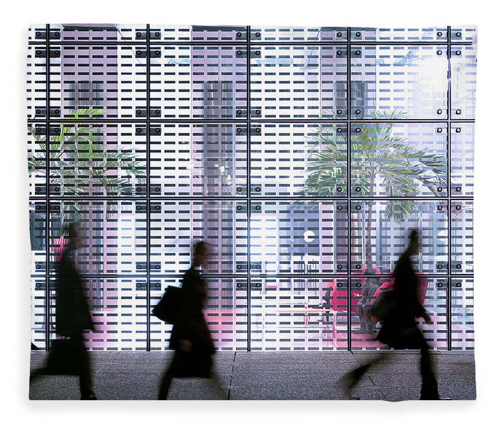 People Fleece Blanket featuring the photograph Business People Passing Modern Office by Eschcollection