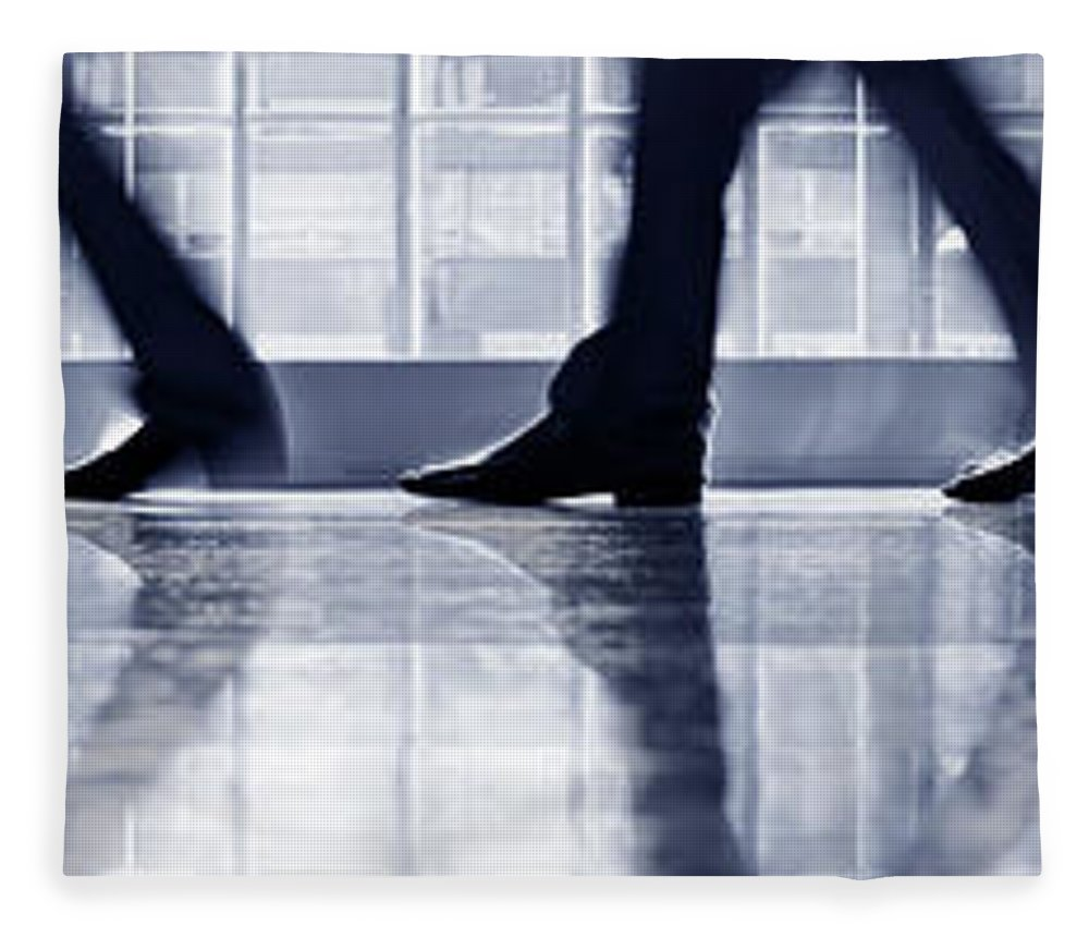 Corporate Business Fleece Blanket featuring the photograph Businesspeople Walking In Lobby, Low by Poba
