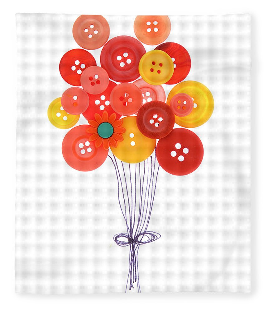 Brampton Fleece Blanket featuring the photograph Buttons As Balloons by Lisa Stokes