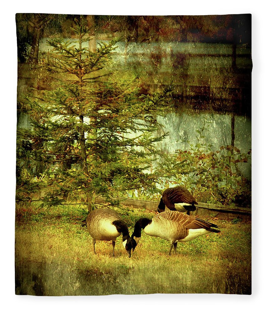 Autumn Fleece Blanket featuring the photograph By The Little Tree - Lake Carasaljo by Angie Tirado