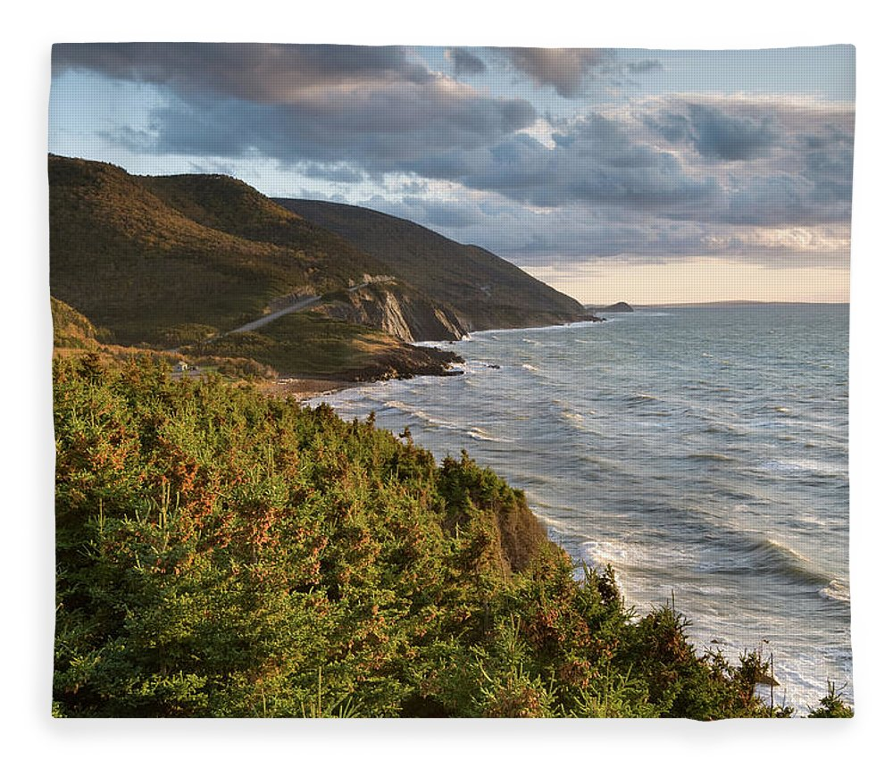 Scenics Fleece Blanket featuring the photograph Cabot Trail Scenic by Shayes17
