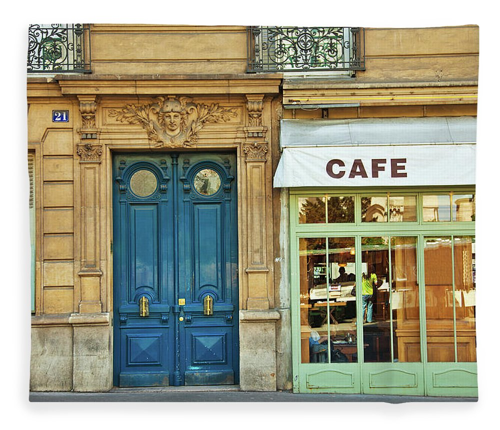 Diner Fleece Blanket featuring the photograph Cafe In Paris by Nikada