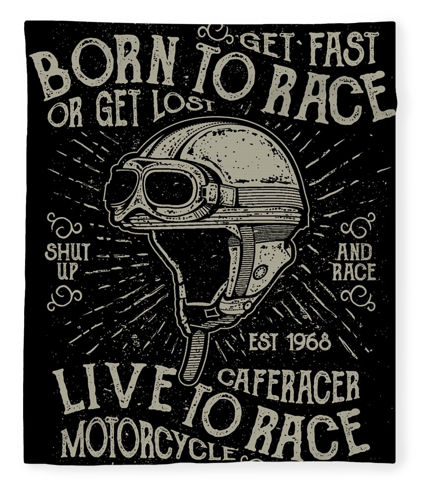 Motocross Fleece Blanket featuring the digital art Cafe Racer Motorcycle by Passion Loft