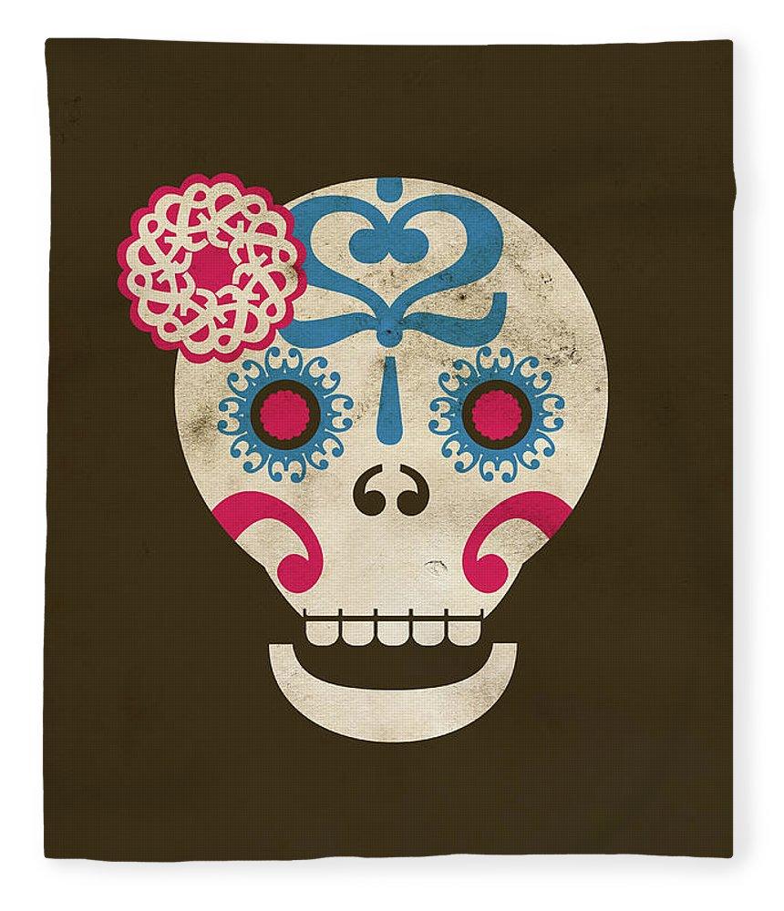 Animal Skull Fleece Blanket featuring the digital art Calaca by Marco Recuero