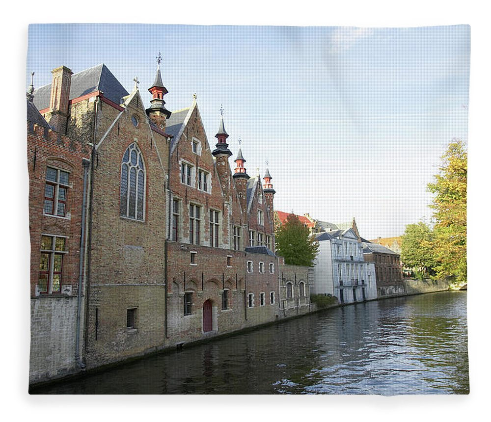 Old Town Fleece Blanket featuring the photograph Canal In The Old Town Of Brugge by Christof Koepsel