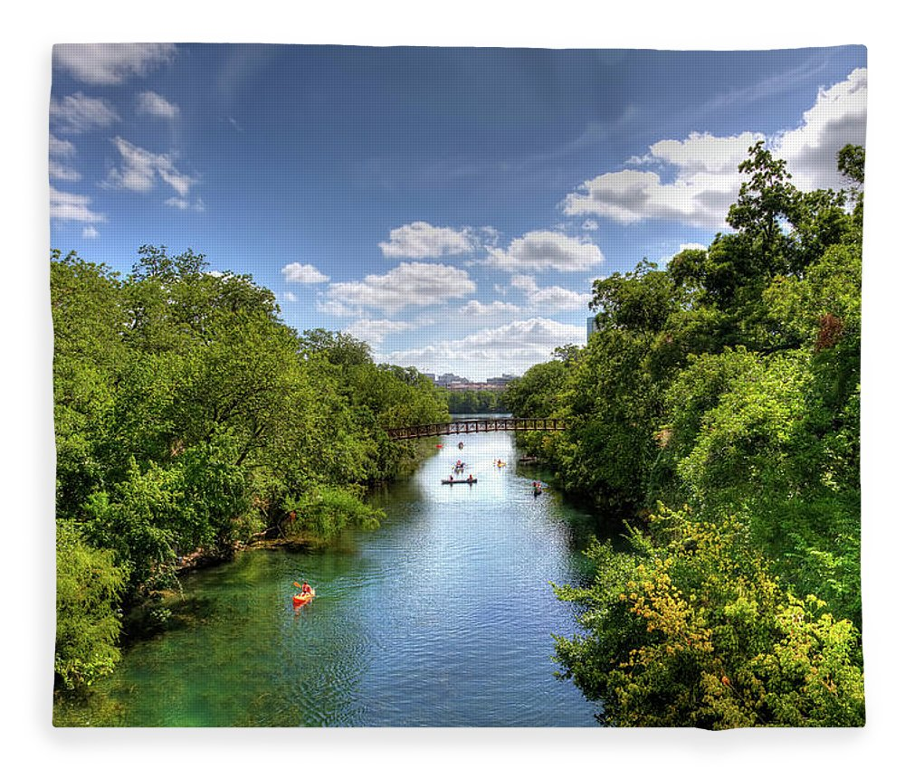 Recreational Pursuit Fleece Blanket featuring the photograph Canoes On Town Lake In Downtown Austin by Metschan