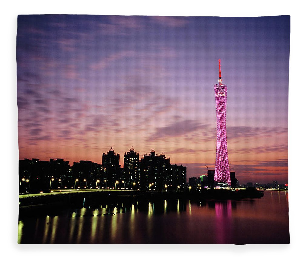 Built Structure Fleece Blanket featuring the photograph Canton Tv Tower In Sunset Glow by Jimmy Tsang