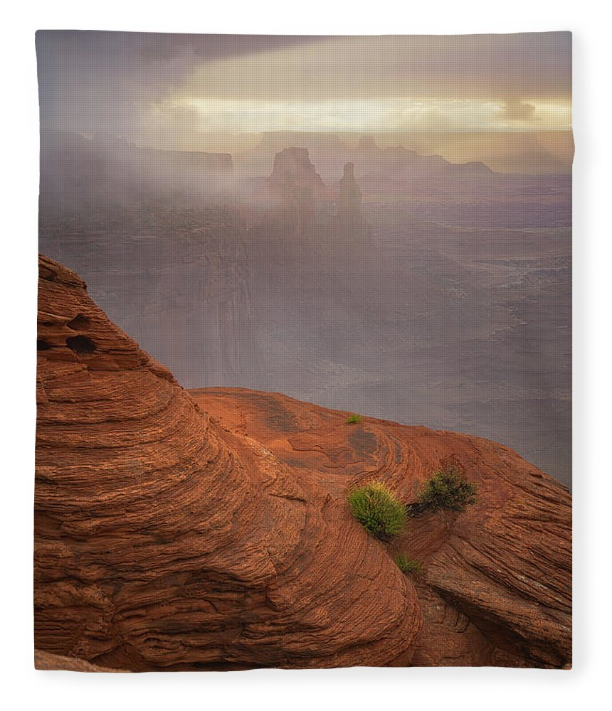 Utah Fleece Blanket featuring the photograph Canyon Moods by Darren White