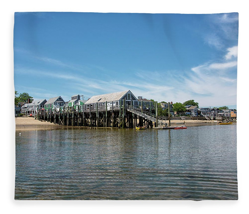 Provincetown Fleece Blanket featuring the photograph Captain Jack's Wharf - Provincetown Harbor - Massachusetts by Brendan Reals
