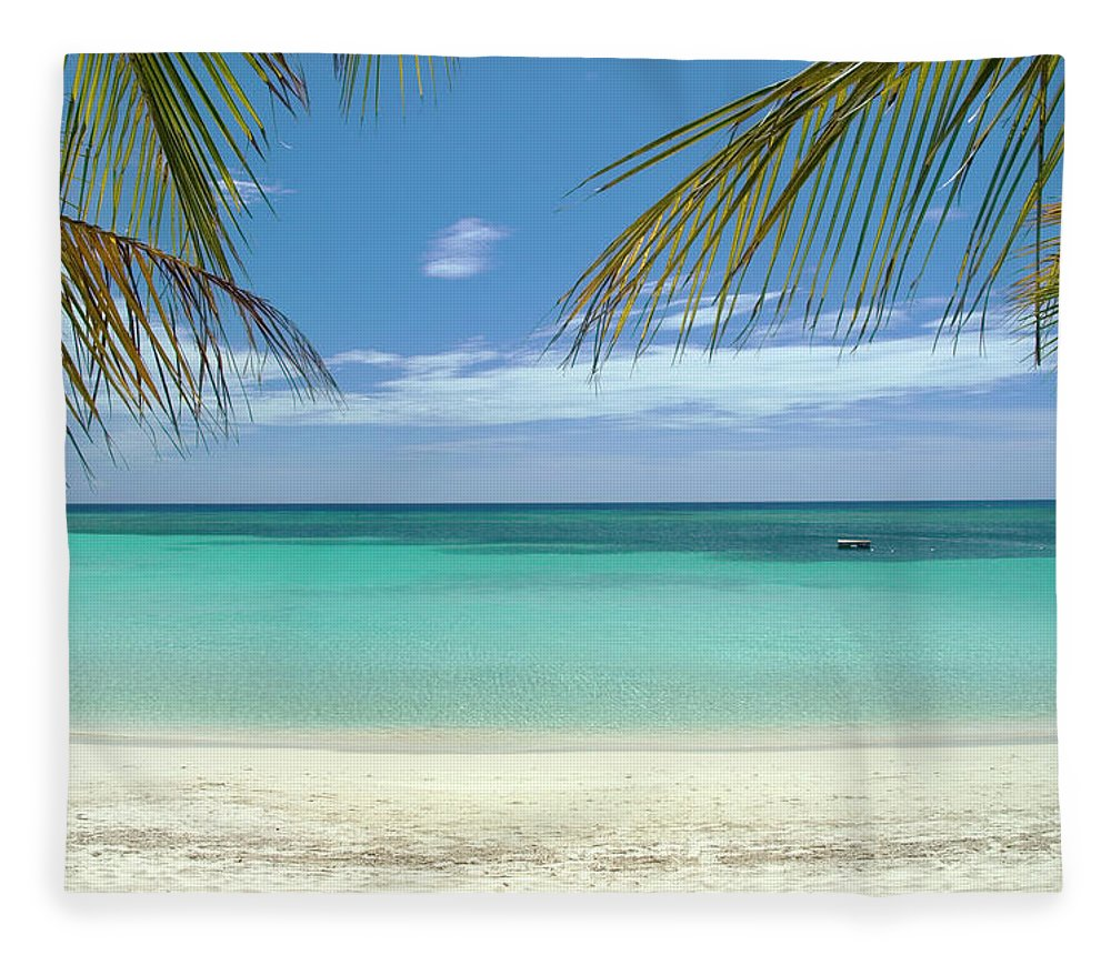 Cool Attitude Fleece Blanket featuring the photograph Caribbean Sea And White Sand Beach by Digi guru