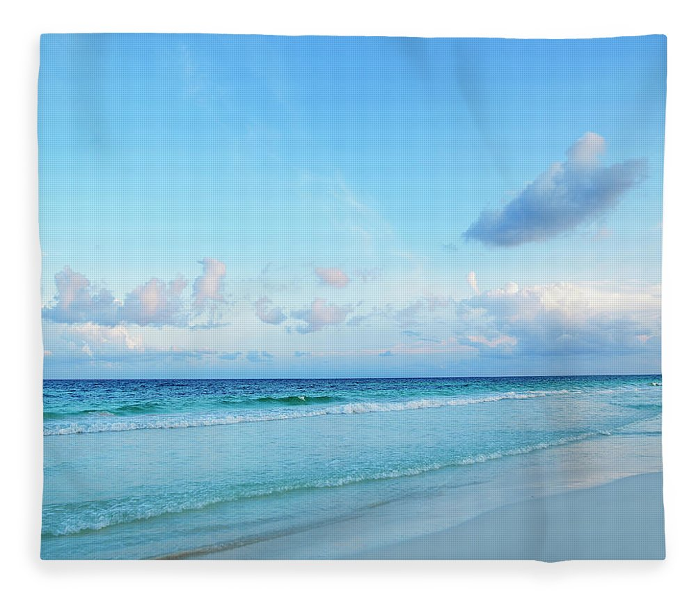 Scenics Fleece Blanket featuring the photograph Caribbean Sea At Sunset by Thomas Barwick