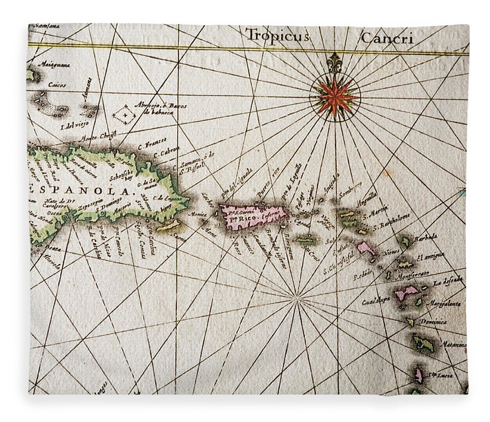 Engraving Fleece Blanket featuring the digital art Carribean Islands by Goldhafen