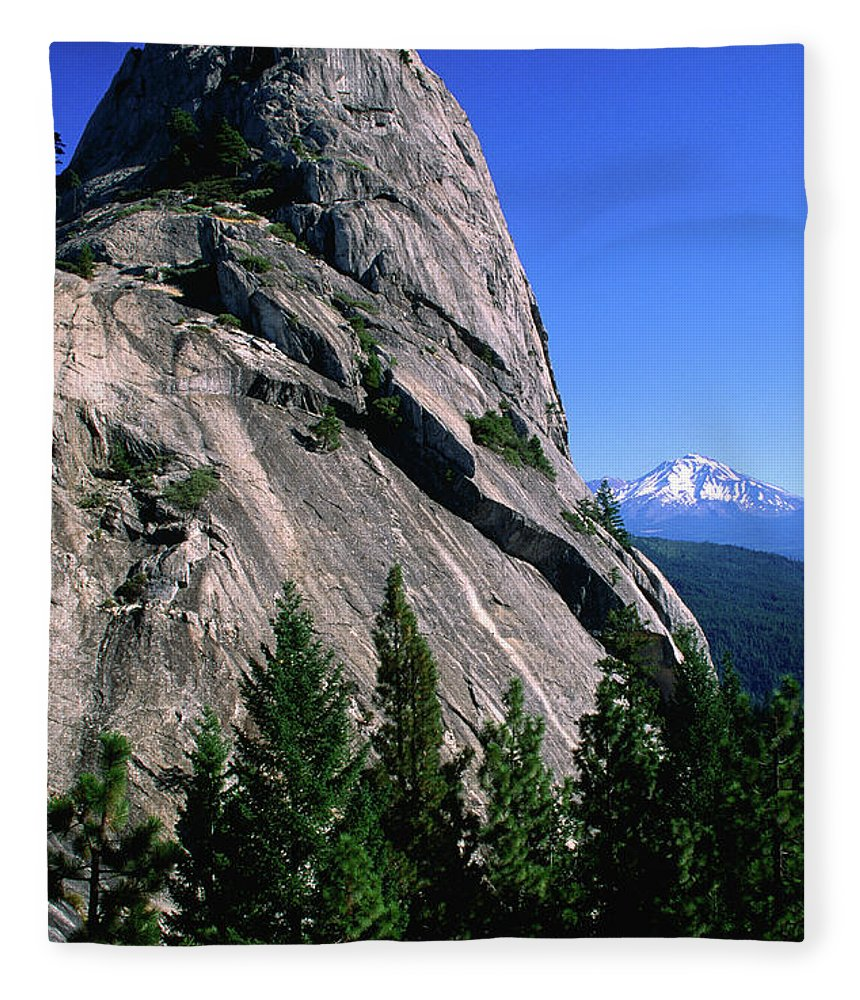 Toughness Fleece Blanket featuring the photograph Castle Crags With Mt Shasta In by John Elk Iii