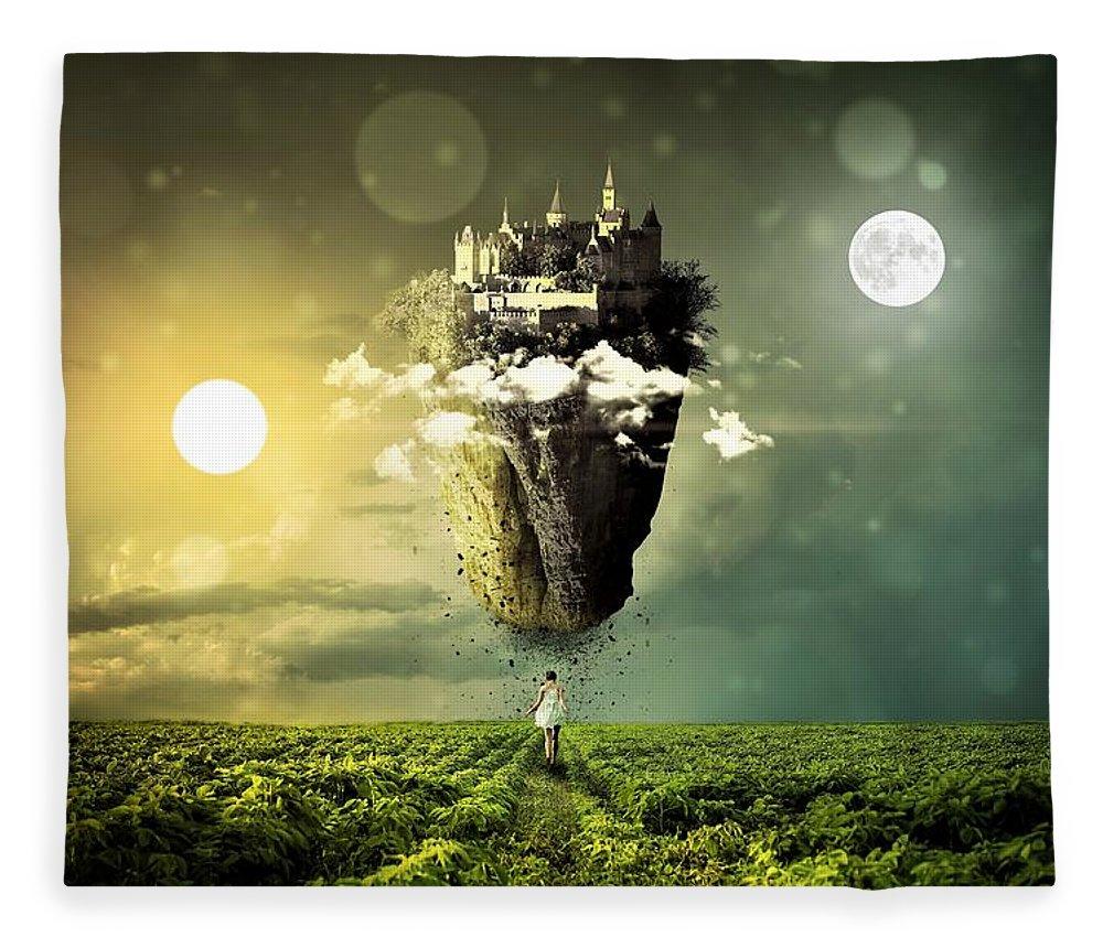 Sf Fleece Blanket featuring the digital art Castle In The Sky by ArtMarketJapan