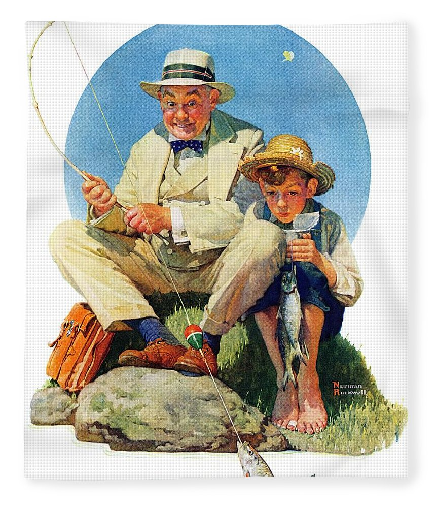 Boy Fleece Blanket featuring the drawing Catching The Big One by Norman Rockwell