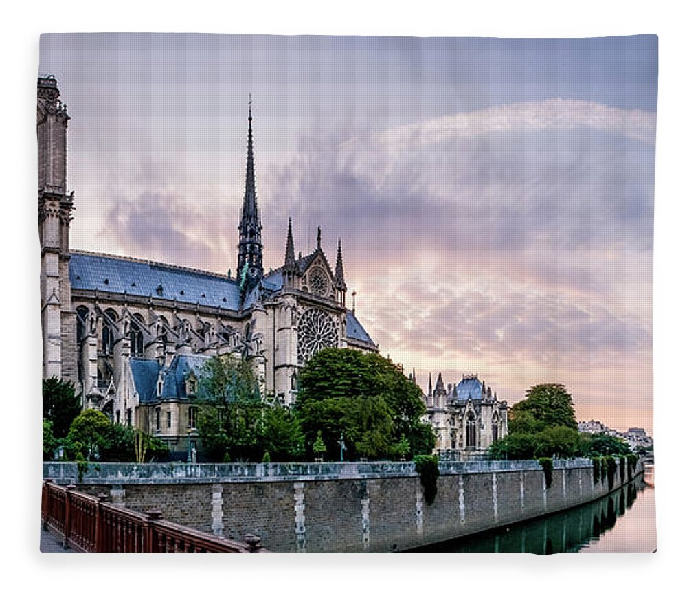 Notre Dame Fleece Blanket featuring the photograph Cathedral Of Notre Dame From The Bridge - Paris France by Harmeet Gabha