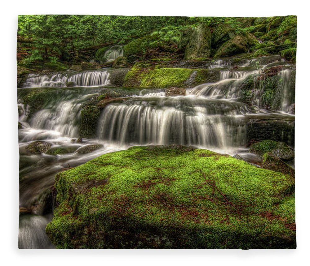 Scenics Fleece Blanket featuring the photograph Catskill Waterfall by Kevin A Scherer