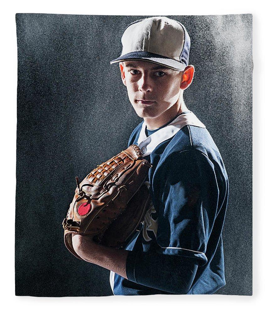 Baseball Cap Fleece Blanket featuring the photograph Caucasian Baseball Player Standing by Erik Isakson