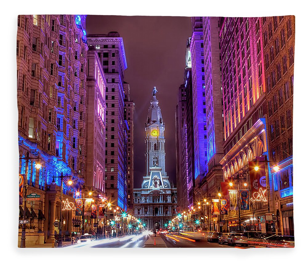 Land Vehicle Fleece Blanket featuring the photograph Center City Philadelphia by Eric Bowers Photo