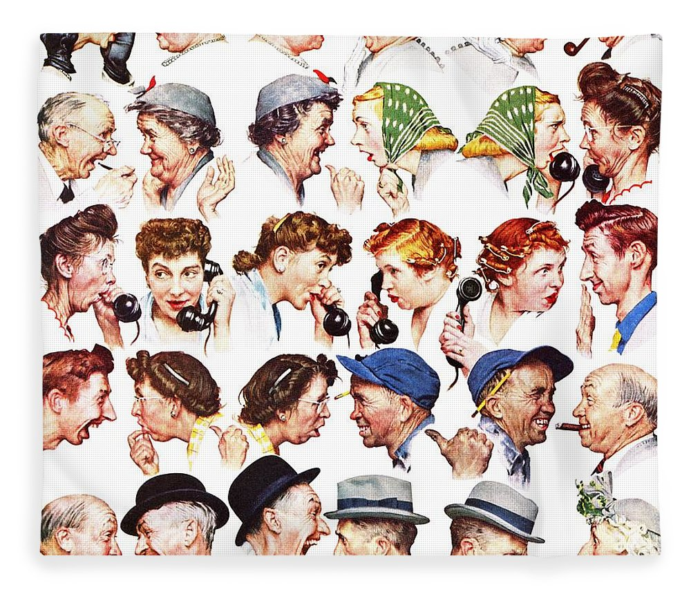 Gossiping Fleece Blanket featuring the drawing Chain Of Gossip by Norman Rockwell
