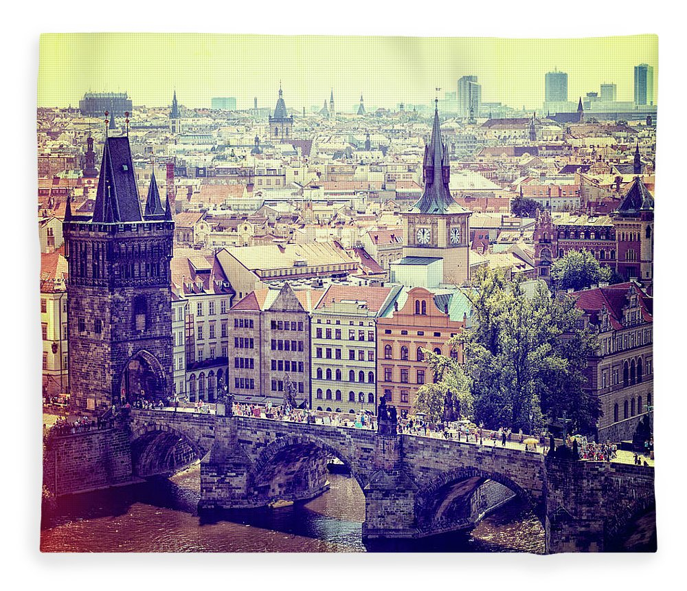 Panoramic Fleece Blanket featuring the photograph Charles Bridge, Prague by Pawel.gaul