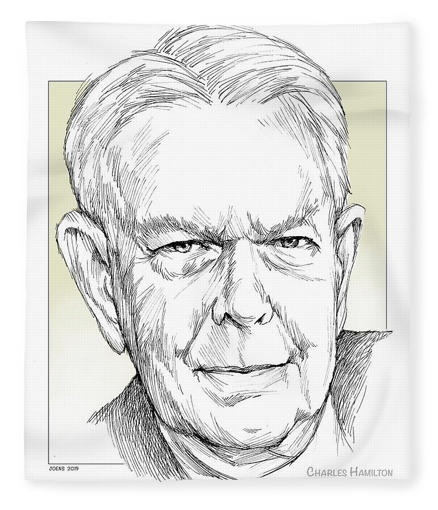 History Fleece Blanket featuring the drawing Charles Hamilton by Greg Joens