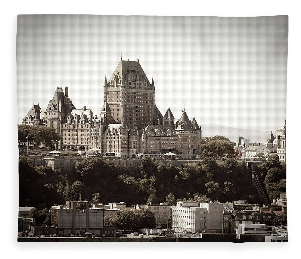 Copper Fleece Blanket featuring the photograph Chateau Frontenac From Levis, Quebec by Onfokus