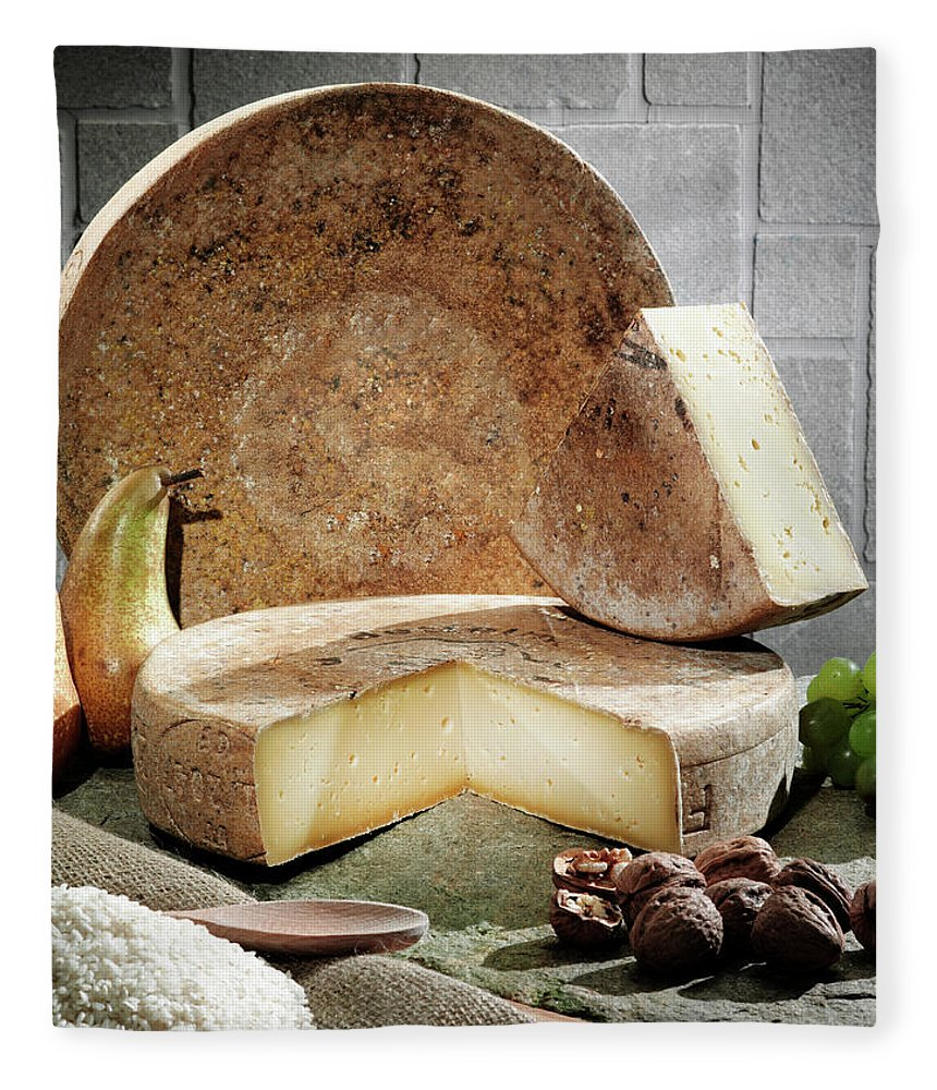 Fontina Fleece Blanket featuring the photograph Cheese, Fruit And Grains On Table by Walter Zerla