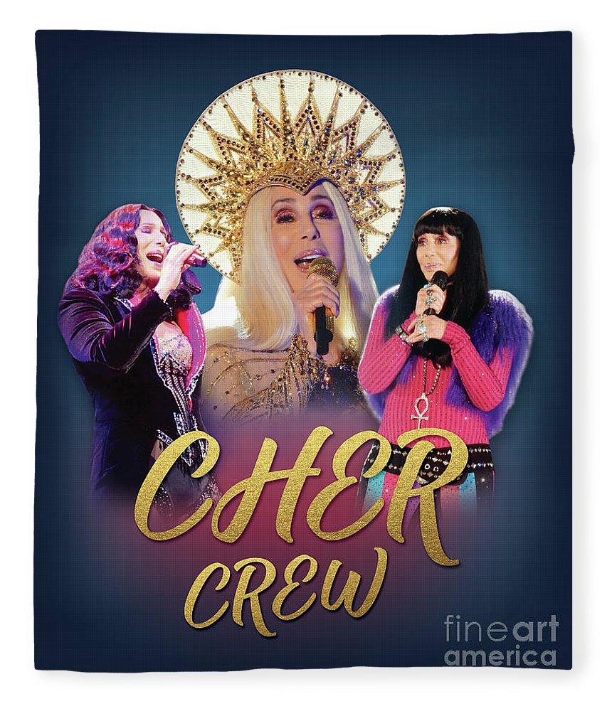 Cher Fleece Blanket featuring the digital art Cher Crew X3 by Gabrielle D