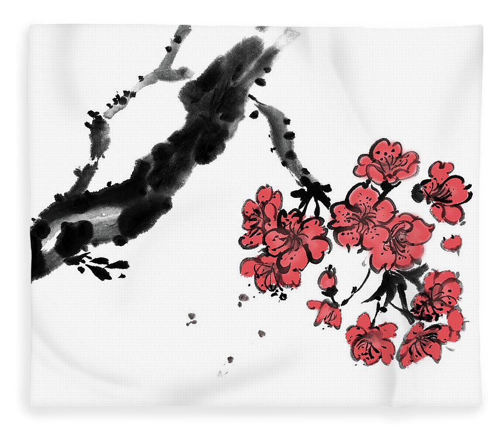 Chinese Culture Fleece Blanket featuring the digital art Cherry Blossoms by Vii-photo
