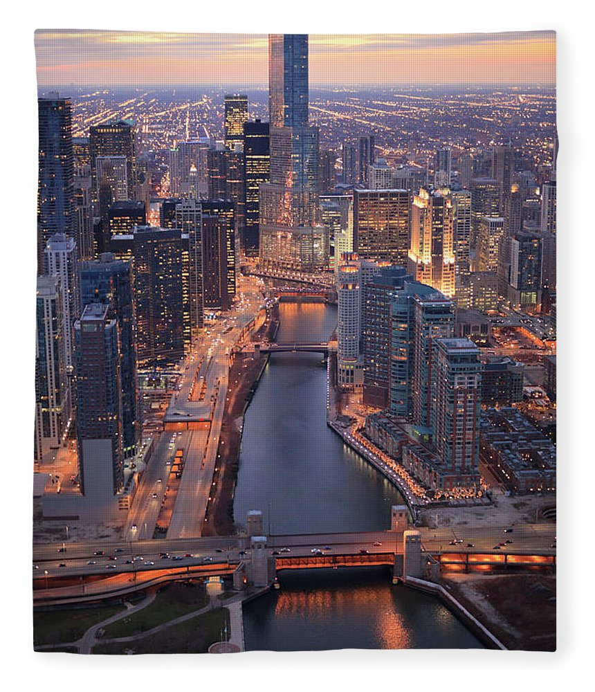 Tranquility Fleece Blanket featuring the photograph Chicago Downtown - Aerial View by Berthold Trenkel