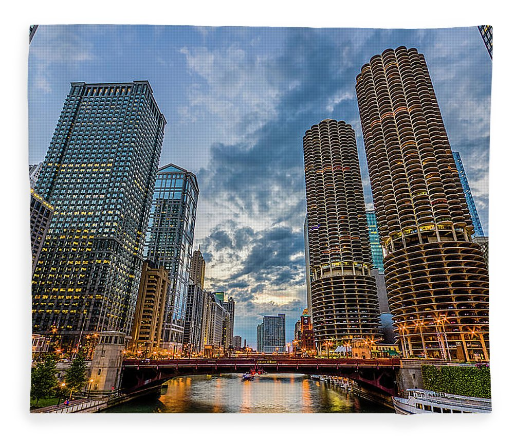 Chicago River Fleece Blanket featuring the photograph Chicago River Sunset by Carl Larson Photography