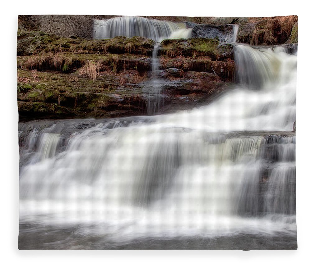 Outdoors Fleece Blanket featuring the photograph Childs Park Waterfall by Michael Orso